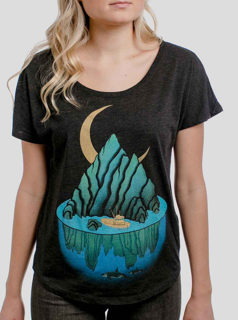 Lost at Sea - Multicolor on Heather Black Triblend Womens Dolman T Shirt