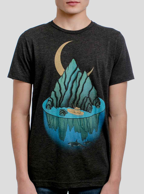 Lost at Sea - Multicolor on Heather Black Triblend Mens T Shirt