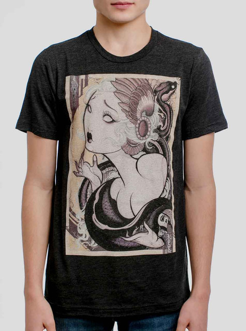 Lady and the Snake - Multicolor on Heather Black Triblend Mens T Shirt