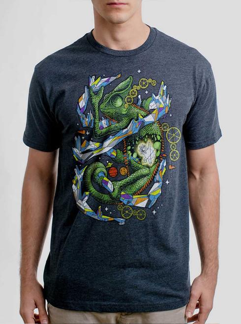 Chameleon - Multicolor on Heather Navy Triblend Mens T Shirt