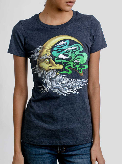 Man in the Moon - Multicolor on Heather Navy Women's T-Shirt