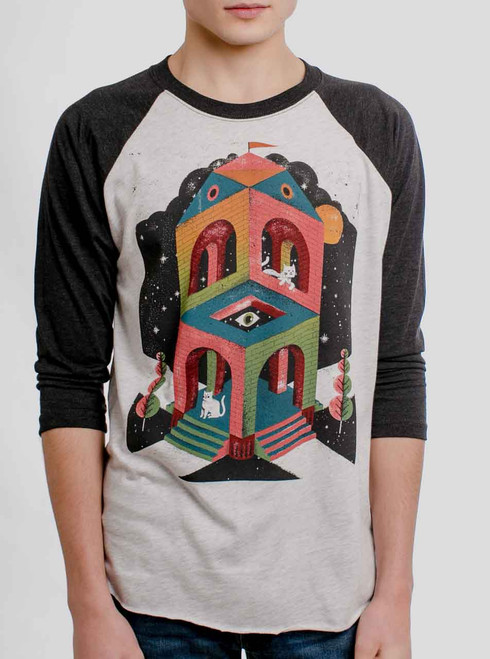 Space Cathedral - Multicolor on Heather White and Black Triblend Raglan