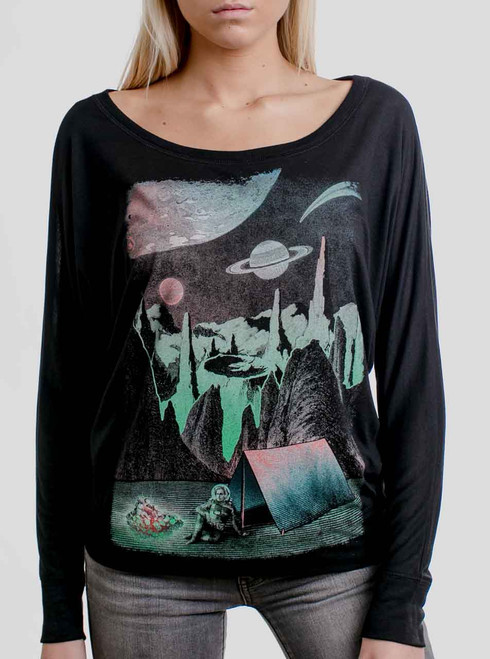 Space Camp - Multicolor on Black Women's Long Sleeve Dolman