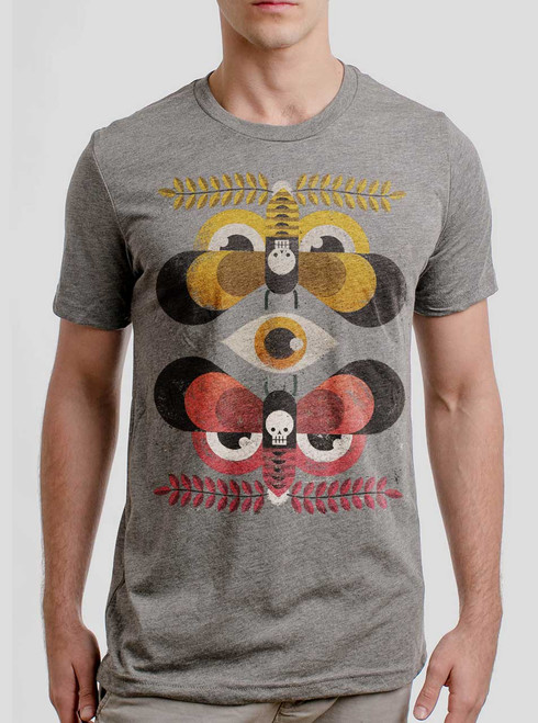 Moth Flock - Multicolor on Heather Grey Triblend Mens T Shirt