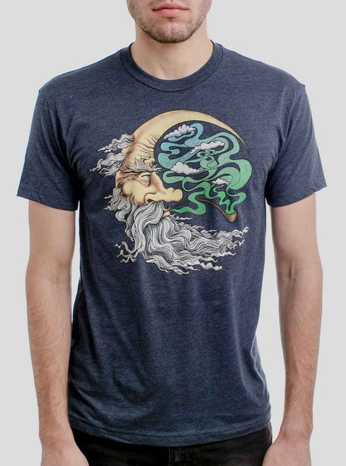 Man in the Moon - Multicolor on Heather Navy Mens T Shirt