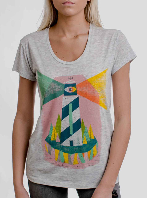 Lighthouse - Multicolor on Heather Oatmeal Womens Relaxed Fit T Shirt