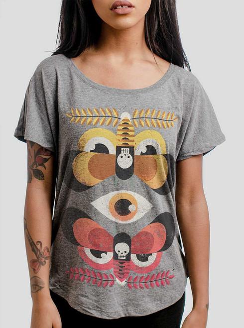 Moth Flock - Multicolor on Heather Grey Triblend Womens Dolman T Shirt