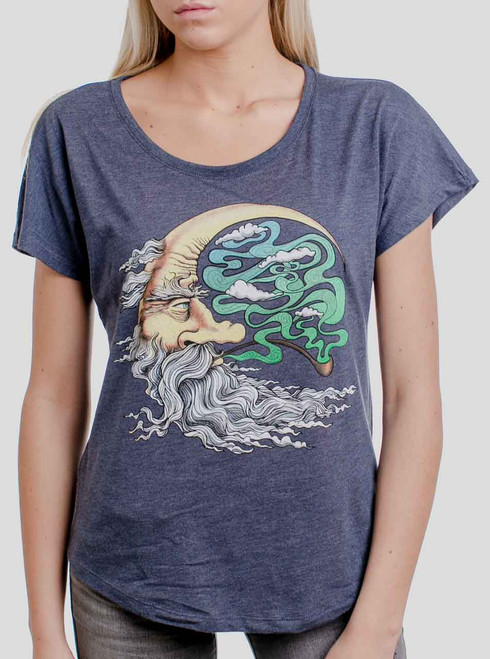 Man in the Moon - Multicolor on Heather Navy Triblend Womens Dolman T Shirt