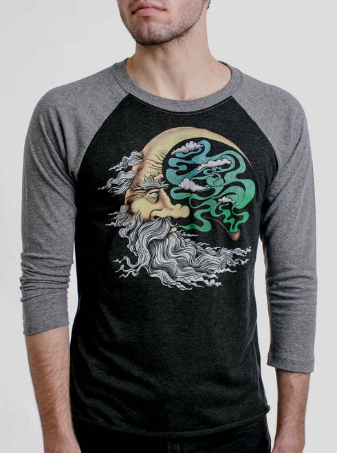Man in the Moon - Multicolor on Heather Black and Grey Triblend Raglan