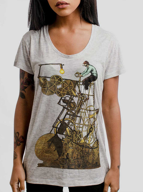 Thinking Machine - Multicolor on Heather Oatmeal Womens Relaxed Fit T Shirt