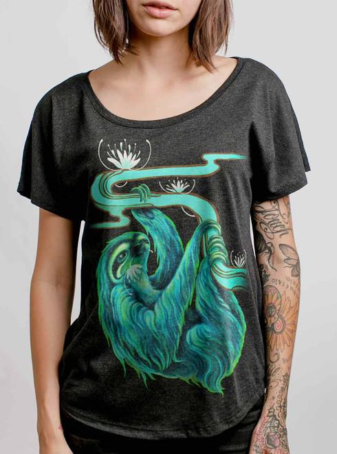Sloth - Multicolor on Heather Black Triblend Womens Dolman T Shirt