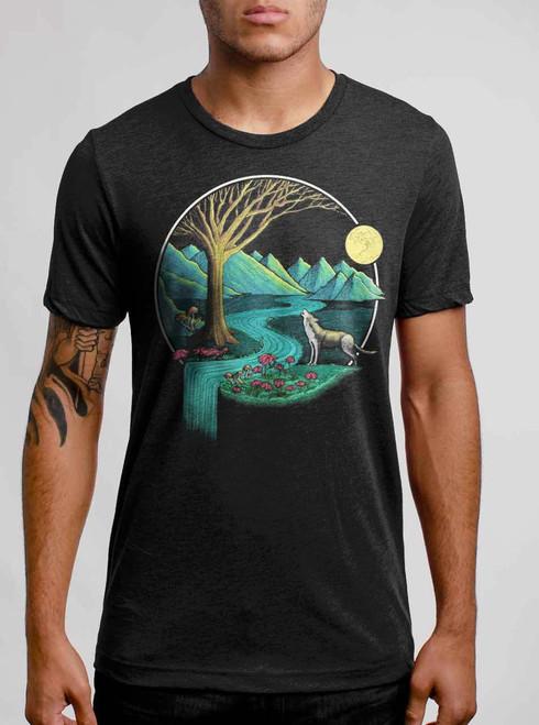 Spirit Animal - Multicolor on Heather Black Triblend Mens T Shirt