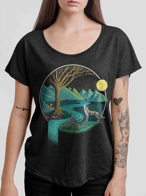 Spirit Animal - Multicolor on Heather Black Triblend Womens Dolman T Shirt