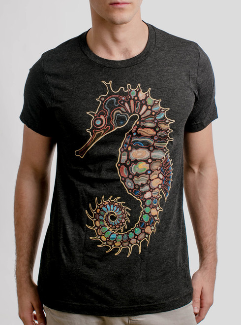Seahorse - Multicolor on Heather Black Triblend Mens T Shirt