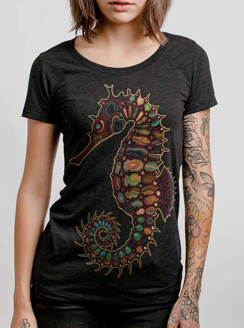Seahorse - Multicolor on Heather Black Triblend Womens T-Shirt