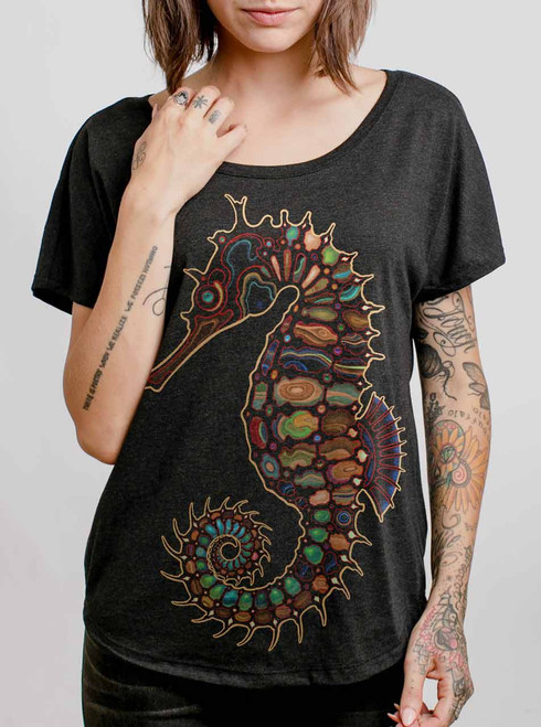 Seahorse - Multicolor on Heather Black Triblend Womens Dolman T Shirt