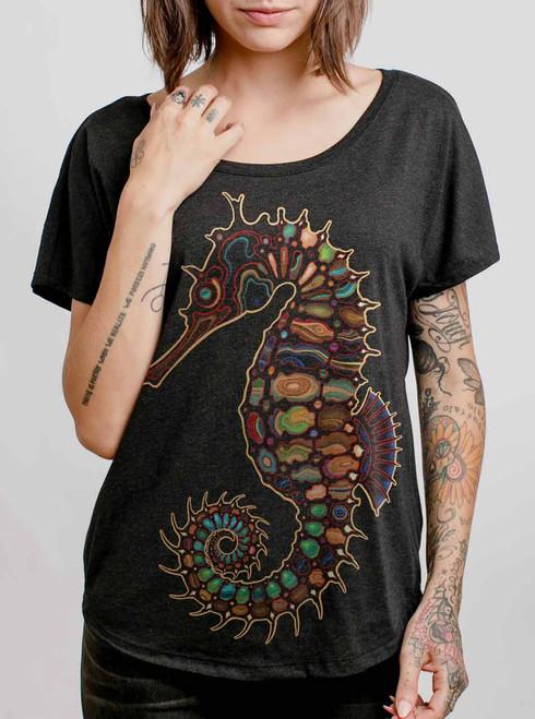 Seahorse - Multicolor on Heather Black Triblend Womens Dolman T Shirt