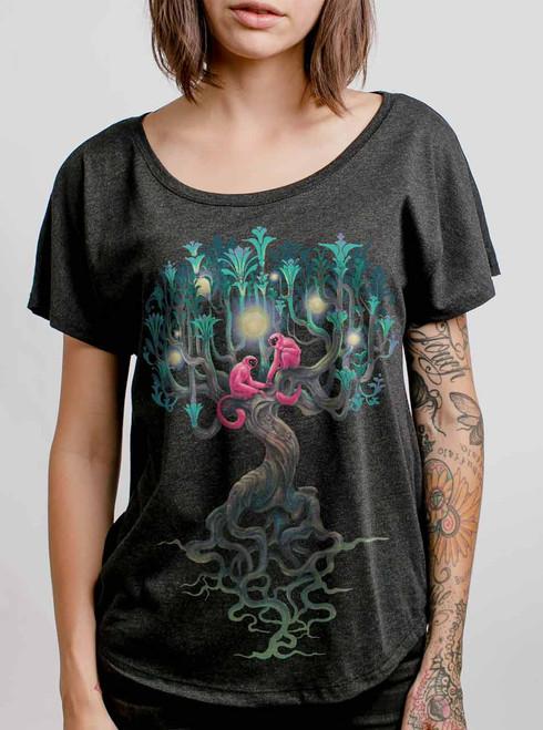 Pink Monkeys - Multicolor on Heather Black Triblend Womens Dolman T Shirt