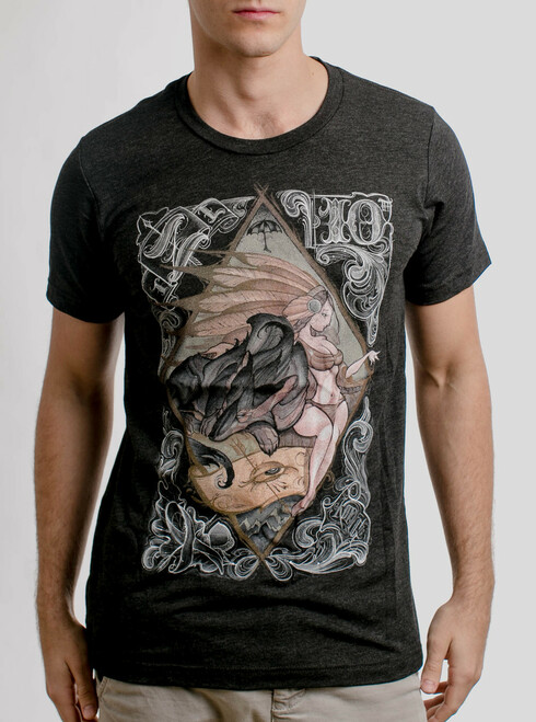 Lady and the Wolf - Multicolor on Heather Black Triblend Mens T Shirt