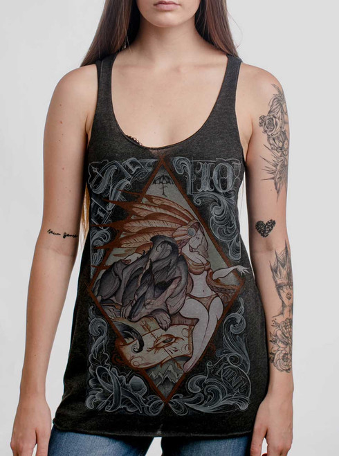 Lady and the Wolf - Multicolor on Heather Black Triblend Women's Racerback Tank Top
