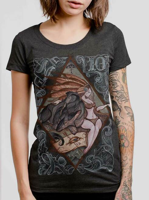 Lady and the Wolf - Multicolor on Heather Black Triblend Junior Womens T-Shirt