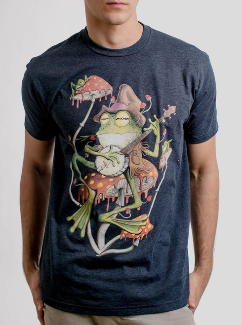 Folk Frog - Multicolor on Heather Navy Mens T Shirt