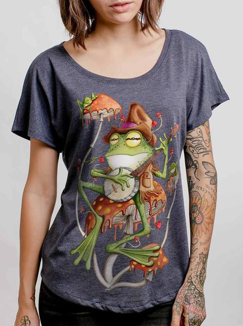 Folk Frog - Multicolor on Heather Navy Triblend Womens Dolman T Shirt