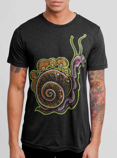 Snail - Multicolor on Heather Black Triblend Mens T Shirt