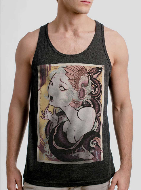 Lady and the Snake - Multicolor on Heather Black Triblend Mens Tank Top