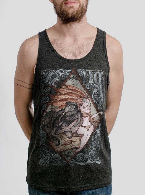 Lady and the Wolf - Multicolor on Heather Black Triblend Mens Tank Top