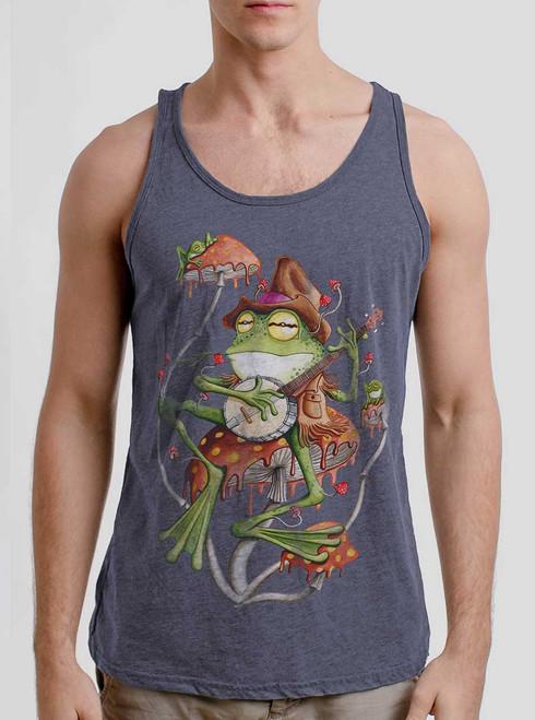 Folk Frog - Multicolor on Heather Navy Triblend Mens Tank Top