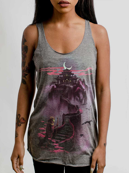 Ascending - Multicolor on Heather Grey Triblend Womens Racerback Tank Top