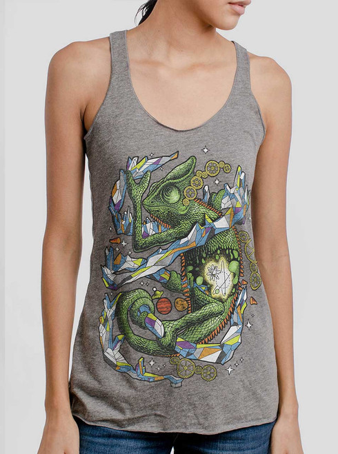 Chameleon - Multicolor on Heather Grey Triblend Womens Racerback Tank Top