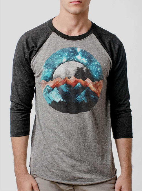 The Mountains - Multicolor on Heather Grey and Black Triblend Raglan