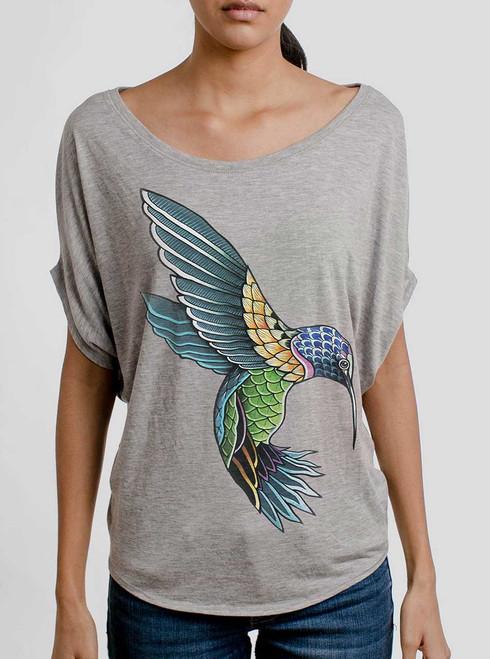 Hummingbird - Multicolor on Athletic Heather Women's Circle Top