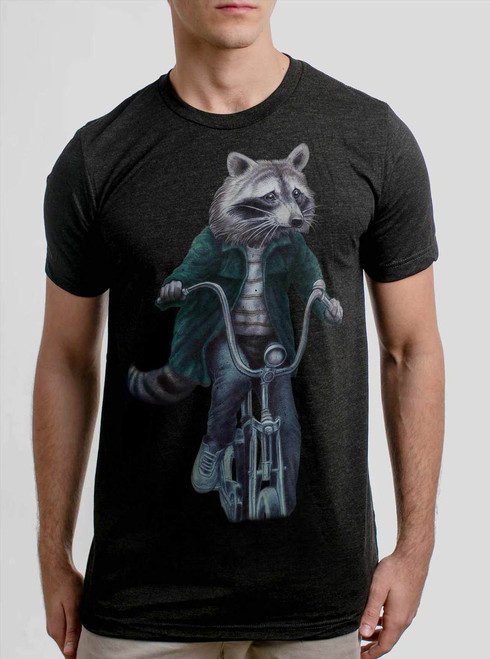 Raccoon - Multicolor on Heather Black Triblend Mens T Shirt