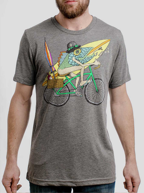 Fish Man - Multicolor on Heather Grey Triblend Mens T Shirt