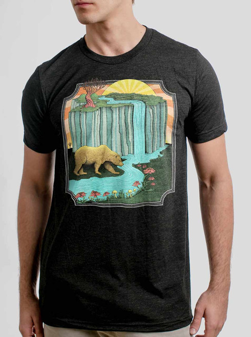 Bear Country - Multicolor on Heather Black Triblend Mens T Shirt