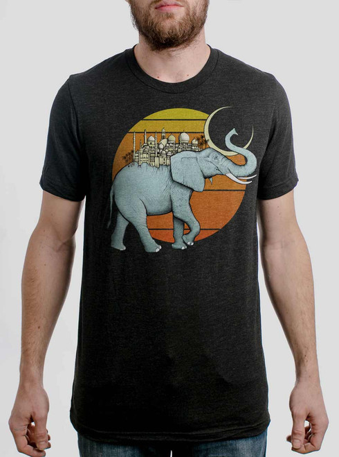 Elephant City - Multicolor on Heather Black Triblend Mens T Shirt