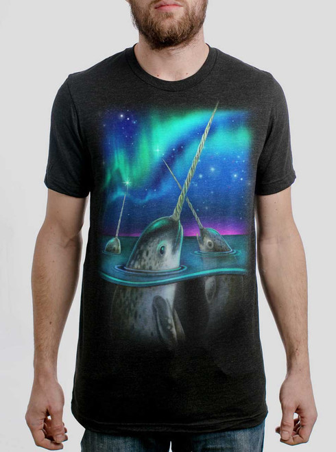 Narwhals - Multicolor on Heather Black Triblend Mens T Shirt