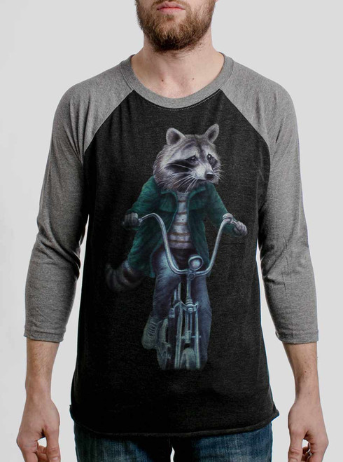 Raccoon - Multicolor on Heather Black and Grey Triblend Raglan