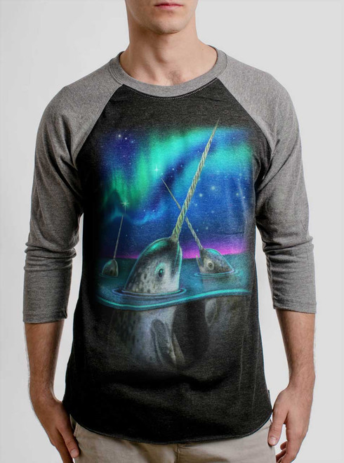 Narwhals - Multicolor on Heather Black and Grey Triblend Raglan