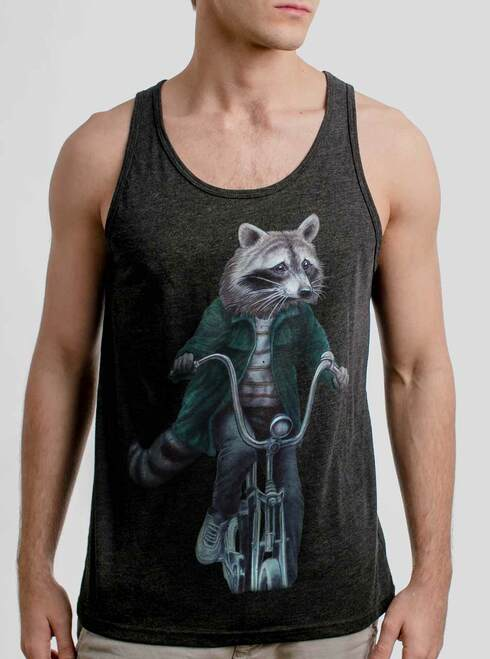Raccoon - Multicolor on Heather Black Triblend Mens Tank Top