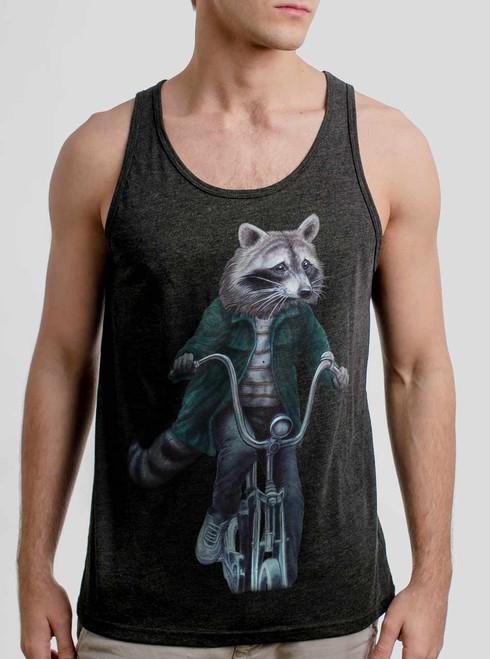 Raccoon - Multicolor on Heather Black Triblend Mens Tank Top