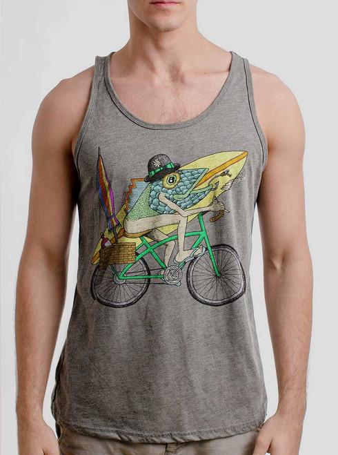 Fish Man - Multicolor on Heather Grey Triblend Mens Tank Top