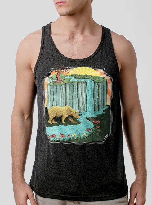 Bear Country - Multicolor on Heather Black Triblend Mens Tank Top