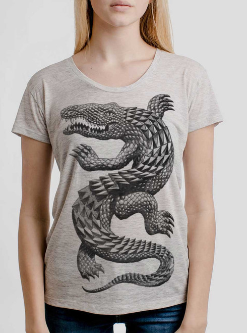 Croc - Black on Heather Oatmeal Womens Relaxed Fit T Shirt