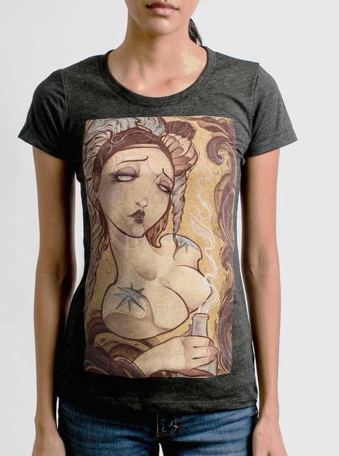 Lady with the Bottle - Multicolor on Heather Black Triblend Womens T-Shirt