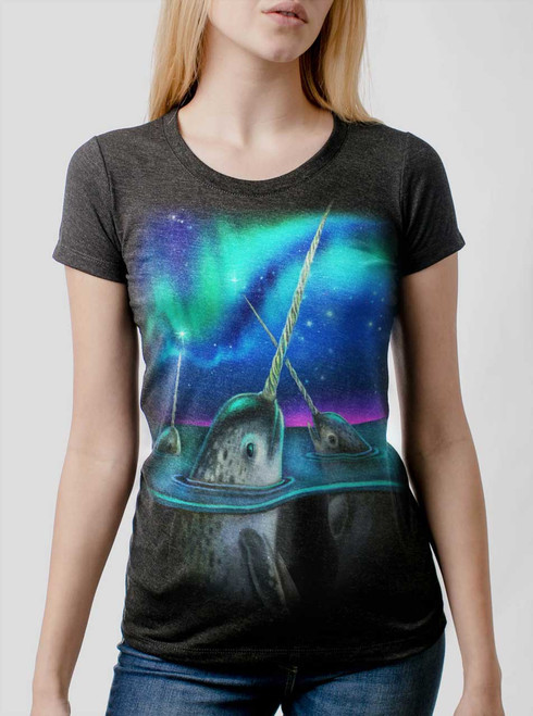 Narwhals - Multicolor on Heather Black Triblend Womens T-Shirt