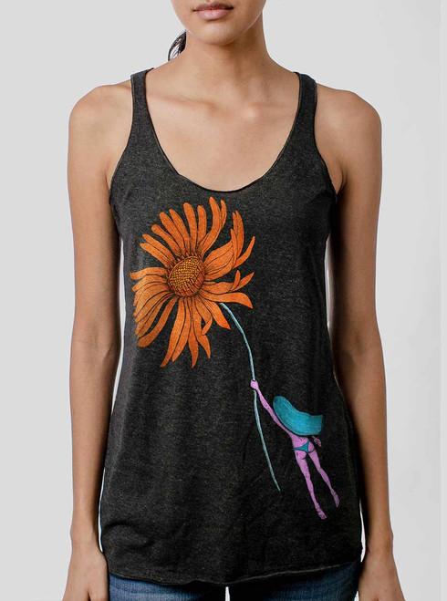 Flower Power - Multicolor on Heather Black Triblend Womens Racerback Tank Top